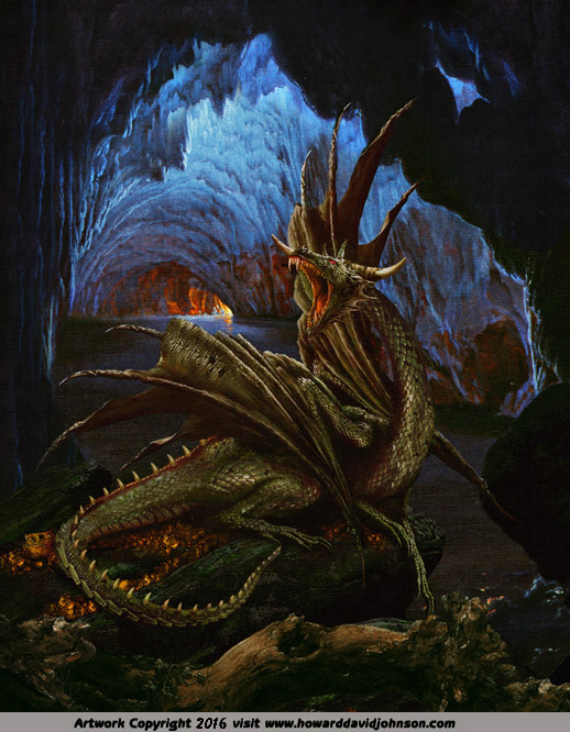the green dragon drake guarding tressure in teh cave